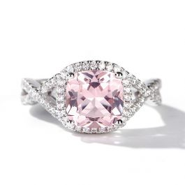Jeulia Twist Halo Cushion Cut Synthetic Morganite Sterling Silver Ring