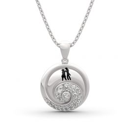 """Jeulia """"Romance in the Moonlight"""" Jack Skellington and Sally Sterling Silver Necklace"""