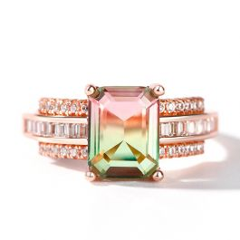 """Jeulia """"One of a Kind"""" Emerald Cut Sterling Silver Watermelon Ring"""