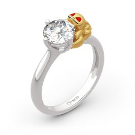 """Jeulia """"Hug Me"""" Frog Seed Round Cut Sterling Silver Ring"""