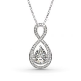 """Jeulia """"Infinity Love"""" Pear Cut Sterling Silver Necklace"""