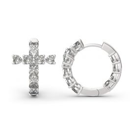 Jeulia Cross Heart Cut Sterling Silver Hoop Earrings