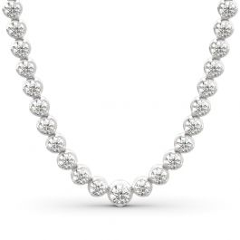 Jeulia Classic Round Cut Sterling Silver Tennis Necklace