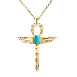 "Jeulia ""Ankh"" Ancient Egyptian Scepter Turquoise Pendant Sterling Silver Necklace"