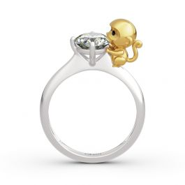 "Jeulia ""Amusing Monkey"" Round Cut Sterling Silver Ring"