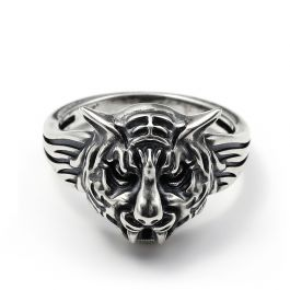 """Jeulia """"King of the Forest"""" Tiger Sterling Silver Men's Ring"""