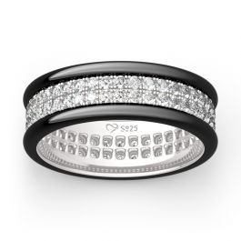 Jeulia Two Tone Round Cut Eternity Sterling Silver Men's Band