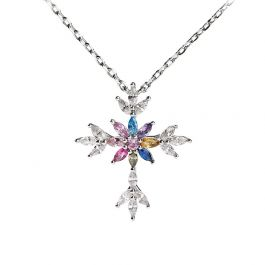 """Jeulia """"Lustrous and Brilliant"""" Cross Sterling Silver Necklace"""