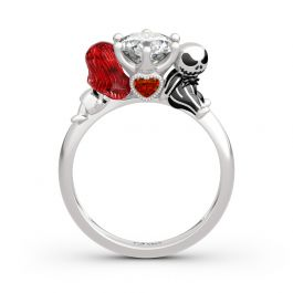 "Jeulia Hug Me ""Magic of Love"" Skull Couple Round Cut Sterling Silver Ring"