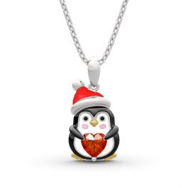"Jeulia Hug Me ""Sweet Confession"" Penguin Heart Cut Sterling Silver Necklace"