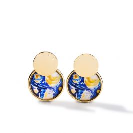 """Jeulia """"Quiet Moment"""" The Starry Night Inspired Two Piece Sterling Silver Earrings"""