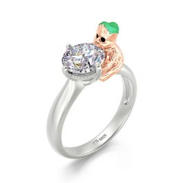 """Jeulia Hug Me """"Tree Baby"""" Round Cut Sterling Silver Ring"""