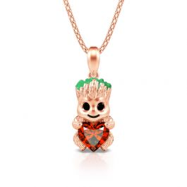 """Jeulia Hug Me """"Tree Baby"""" Heart Cut Sterling Silver Necklace"""