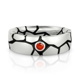 Jeulia Cracked Design Red Stone Sterling Silver Men's Band