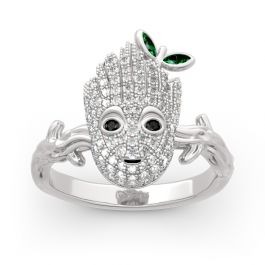 """Jeulia """"I am Groot"""" Sterling Silver Ring"""