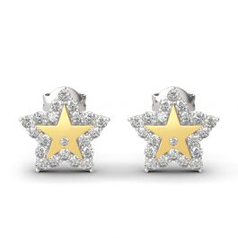 """Jeulia """"A Star Is Born"""" Sterling Silver Engraved Earrings"""