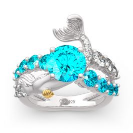 """Jeulia """"Goddess of the Sea"""" Sterling Silver Mermaid Ring"""