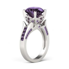 Jeulia Lilac Flower Round Cut Sterling Silver Ring