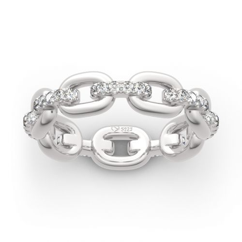 Jeulia Chain Link Round Cut Sterling Silver Women's Band
