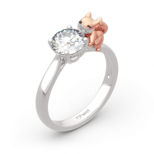 "Jeulia Hug Me ""Baby Fox"" Round Cut Sterling Silver Ring"