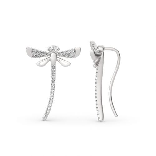 """Jeulia """"Life & Vitality"""" Dragonfly Sterling Silver Climber Earrings"""