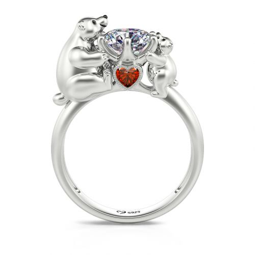"""Jeulia Hug Me """"Mother & Baby"""" Polar Bear Round Cut Sterling Silver Ring"""