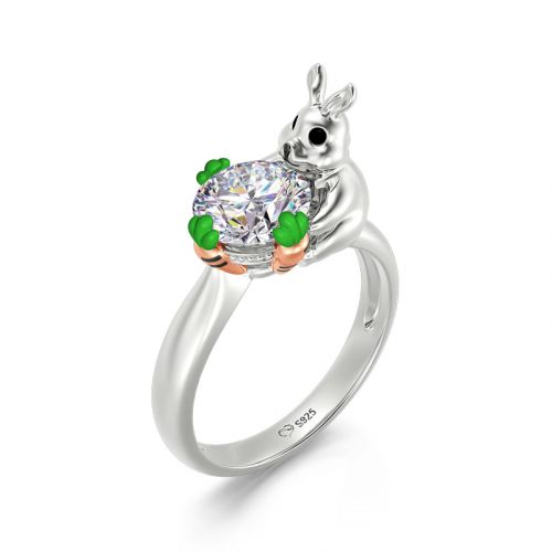 """Jeulia Hug Me """"Rabbit Loves Carrots"""" Bunny Round Cut Sterling Silver Ring"""