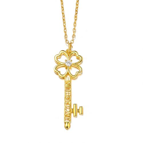 Jeulia Personalized Name Four Leaf Clover Key with Birthstones Sterling Silver Necklace