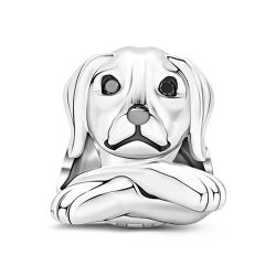 Obedient Dog Charm Sterling Silver