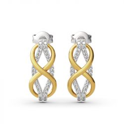 "Jeulia ""Infinity Love"" Two Tone Sterling Silver Earrings"