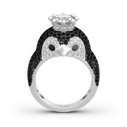 "Jeulia ""Be Your King"" Penguin Sterling Silver Ring"