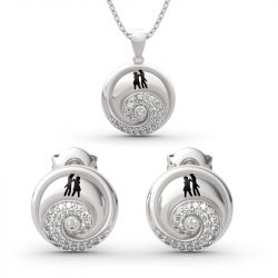 """Jeulia """"Romance in the Moonlight"""" Skull Couple Sterling Silver Jewelry Set"""