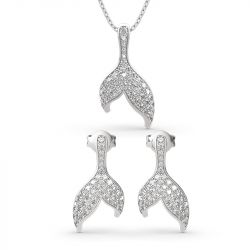 """Jeulia """"Dancing by the Moonlight"""" Mermaid Tail Sterling Silver Jewelry Set"""