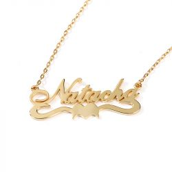 """Jeulia """"For Love"""" Personalized Sterling Silver Name Necklace"""