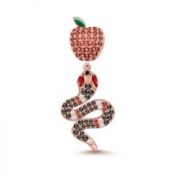 """Forbidden Fruit"" Snake and Apple Pendant Sterling Sliver"
