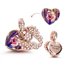 """""""Heart With Angel Wing"""" Engravable Photo Charm Pendant"""