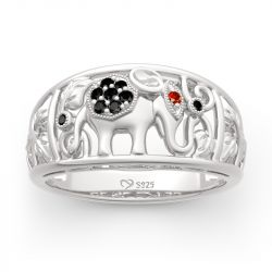 "Jeulia ""Lucky Elephant"" Sterling Silver Band"