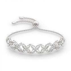 "Jeulia ""Gorgeous Beauty"" Marquise Cut Sterling Silver Bracelet"