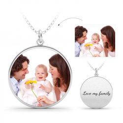 Jeulia Engraved Family Personalized Sterling Silver Photo Necklace