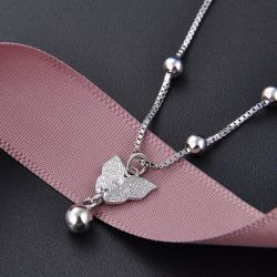 Jeulia Simple Butterfly Bead Sterling Silver Anklet
