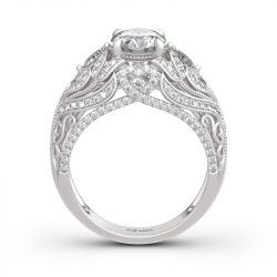 Jeulia Vintage Lace Design Round Cut Sterling Silver Ring