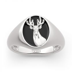 "Jeulia ""Elk Forest"" Sterling Silver Signet Ring"