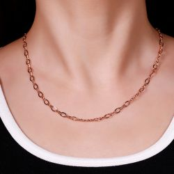 Jeulia Twist Design Sterling Silver Link Chain Necklace
