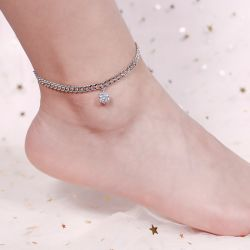 Jeulia Simple Design Round Cut Sterling Silver Anklet