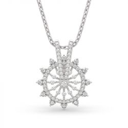 "Jeulia ""Ferris Wheel"" Round Cut Sterling Silver Necklace"