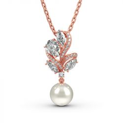 Jeulia Elegant Design Cultured Pearl Sterling Silver Necklace