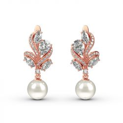 Jeulia Elegant Design Cultured Pearl Sterling Silver Earrings