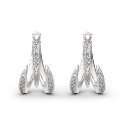 Jeulia Spike Design Round Cut Sterling Silver Earrings