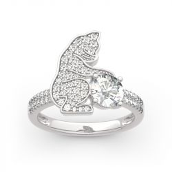 "Jeulia ""Always Together"" Cat Round Cut Sterling Silver Ring"