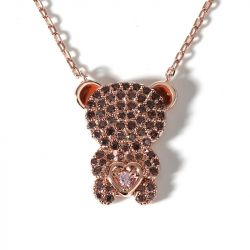 """Jeulia """"Look At Me"""" Bear Design Sterling Silver Necklace"""